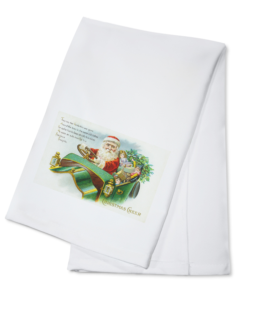 Christmas Cheer Scene with Santa Driving a Car (100% Cotton Kitchen Towel) by Lantern Press