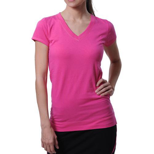 Tasc Performance Streets V Women's V-neck Shirt Large DragonFruit Pink