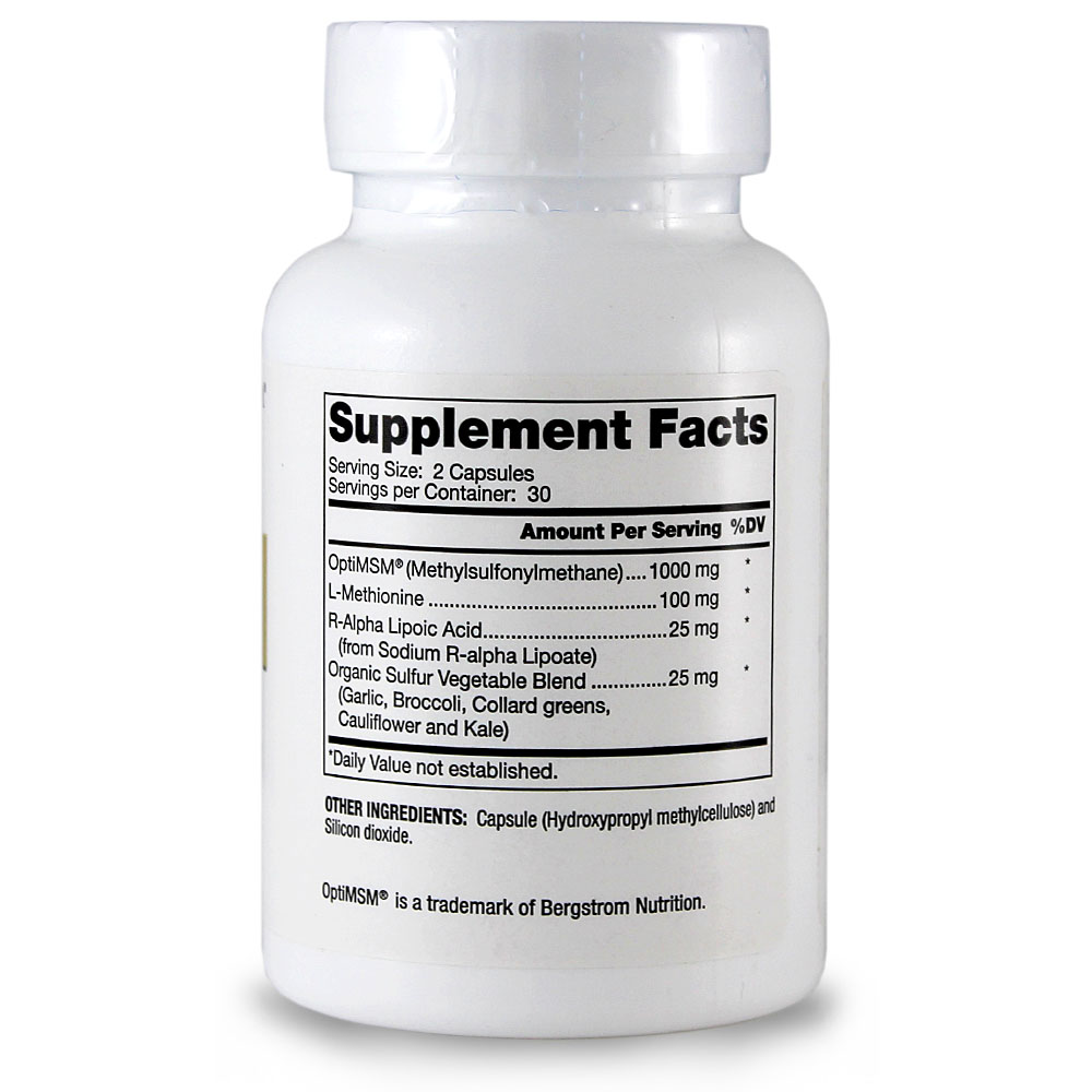 Dr. Mercola MSM with Organic Sulfur Complex - 60 Capsules - Contains OptiMSM, L-Methionine, R-Alpha Lipoic Acid And Organic Sulfur Vegetable Blend