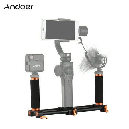Andoer Dual Handheld Grip Bracket Kit Gimbal 1/4 Inch Screw Mounts Extended Handle for Zhiyun Feiyu (Stabilizer Bar Bracket)