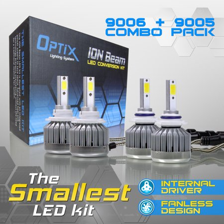 Project RA 9006 + 9005 Low / High Beam Combo Pack 4pcs Ion Beam LED  Headlight Bulb Conversion Kit - 6000K 6K White - Fan-less / Driver-less  Design