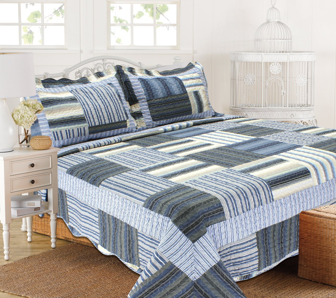 all for you 3pc reversible quilt set bedspread and coverlet with flower prints