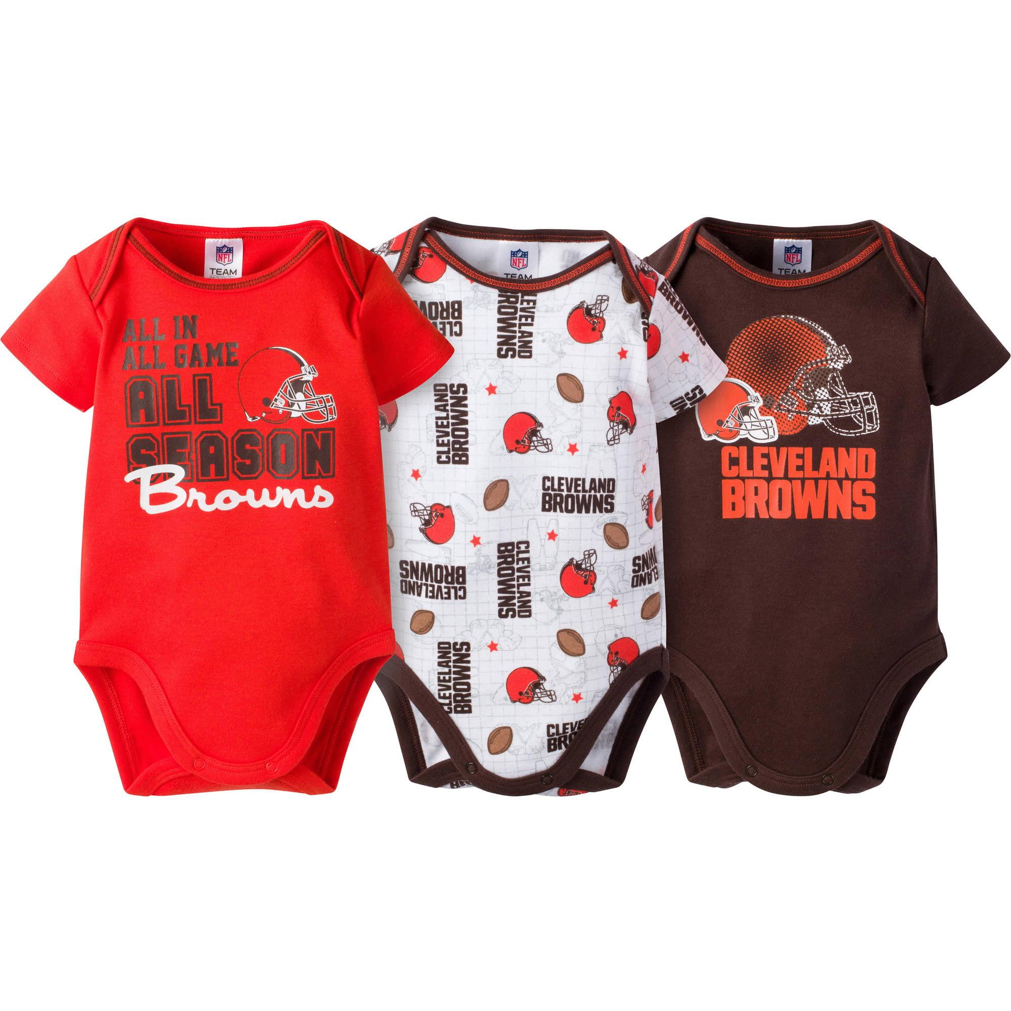 NFL Cleveland Browns Baby Boys Short Sleeve Bodysuit Set, 3-Pack