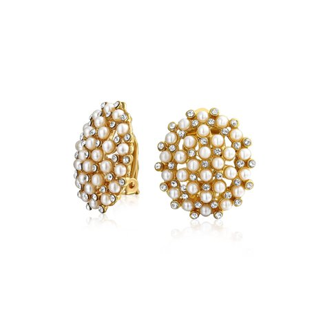 Art Deco Style Geometric Round White Cluster Simulated Pearl Fashion Clip on Earrings For Women 14K Gold Plated Deco Style Clip Earrings