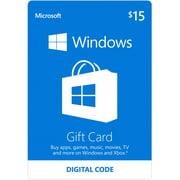 Windows Store $15 Gift Card Digital 2015