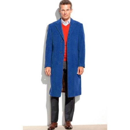 Mens Dress Coat 3 Button 65% Wool Full Length Overcoat ~ Topcoat (Cashmere Touch (Not Cashmere)) Navy