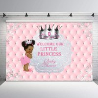 Pink and Sliver Baby Shower Backdrop for Baby Girls Cute Ethnic Little Princess Photo Background 7x5ft Glitter Sliver Crown Tufted Backdrops for Baby Shower Party Decorations