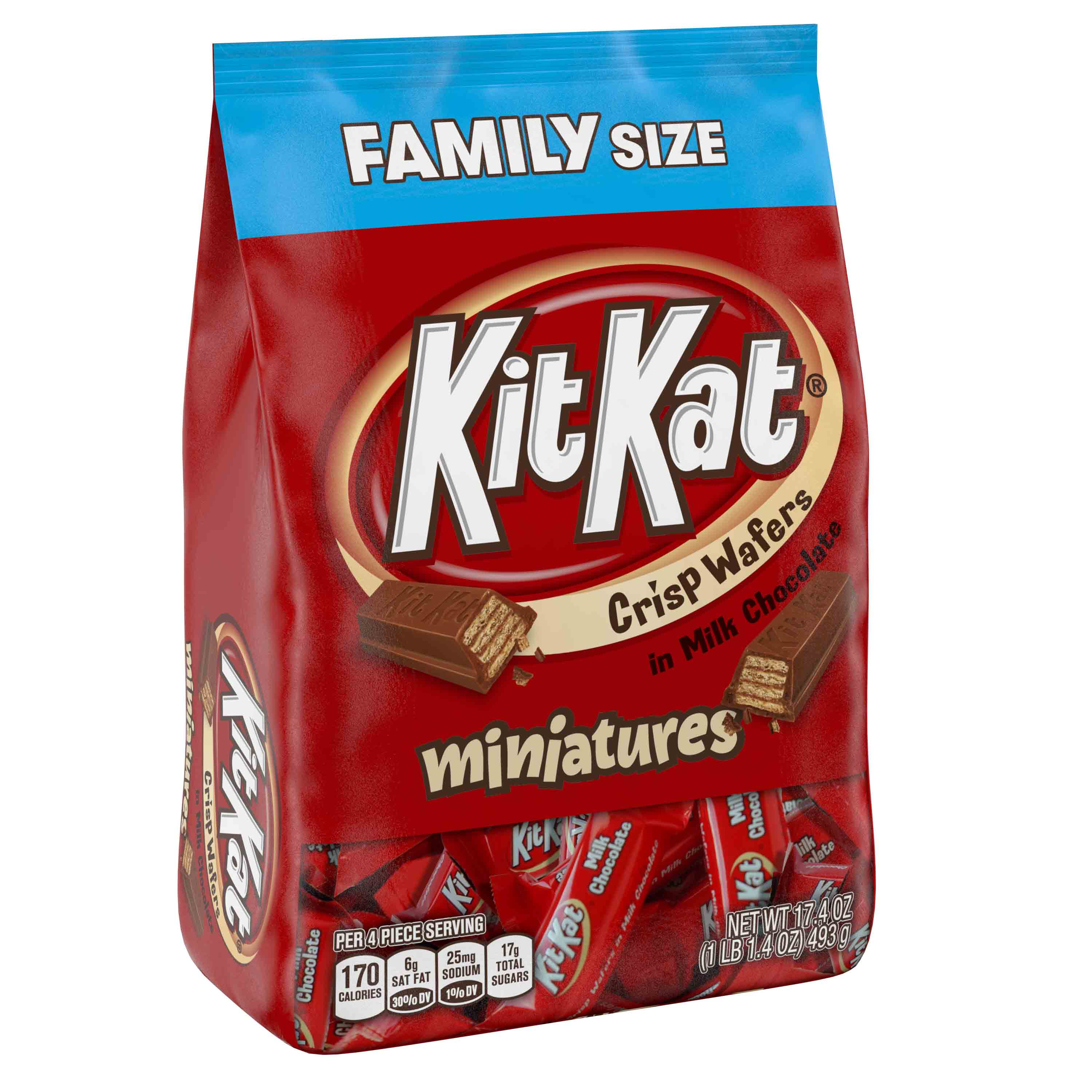 Kit Kat, Crisp Wafer Milk Chocolate Candy Bars Miniatures, 17.4 Oz