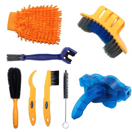 Coolmade 8 Pieces Precision Bicycle Cleaning Brush Tool Including Bike Chain Scrubber, suitable for Mountain, Road, City, Hybrid,BMX Bike and Folding