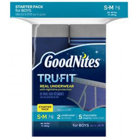 GoodNites TRU-FIT Bedwetting Underwear for Boys, Starter Pack (2 Pants + 5 Inserts), (Choose Your Size)