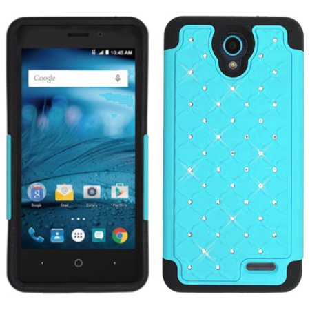 quality design 473e5 19b99 Phone Case for AT&T PREPAID ZTE Maven 3, ZTE Prelude-Plus Case Studded  Rhinestone Diamond Bling Cover Case (Teal)