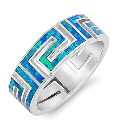 Blue Simulated Opal Greek Key Filigree Wide Ring .925 Sterling Silver Band Size 8 925 Sterling Silver Key Ring