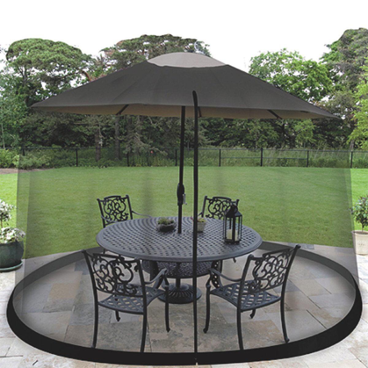 ideaworks jb5677 outdoor 75 foot umbrella table screen black walmartcom - Patio Table Umbrella