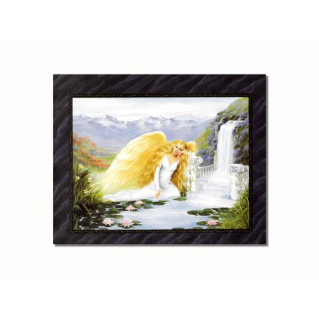 - Blond Angel #1 with Waterfall and Columns Wall Picture 8x10 Art Print
