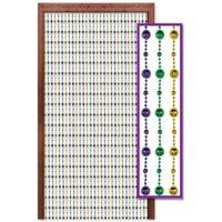 "78"" Metallic Purple, Green & Gold Disco Bead Mardi Gras Party Door Curtain Decoration"
