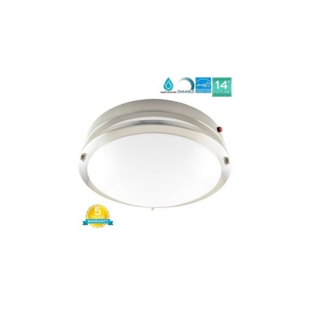 Luxrite 14 Inch Emergency LED Light Fixture, 22W, Battery Backup, 3000K (Soft White), 1652LM, ENERGY STAR, Dimmable, Chrome Finish, Damp Rated, LED Ceiling Light, 1-Piece Emergency Lighting Fixture