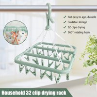 Amerteer Laundry Hanger Drying Rack - Foldable Clip and Drip Hanger with 32 Pins, Clothes Drying Rack, Sock Hanger for Drying Towels, Bras, Baby Clothes, Plastic Laundry Sock Drying Hanger