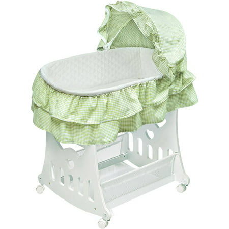 Badger Basket Portable Bassinet & Cradle with Toy Box Base, Sage Waffle Ruffled