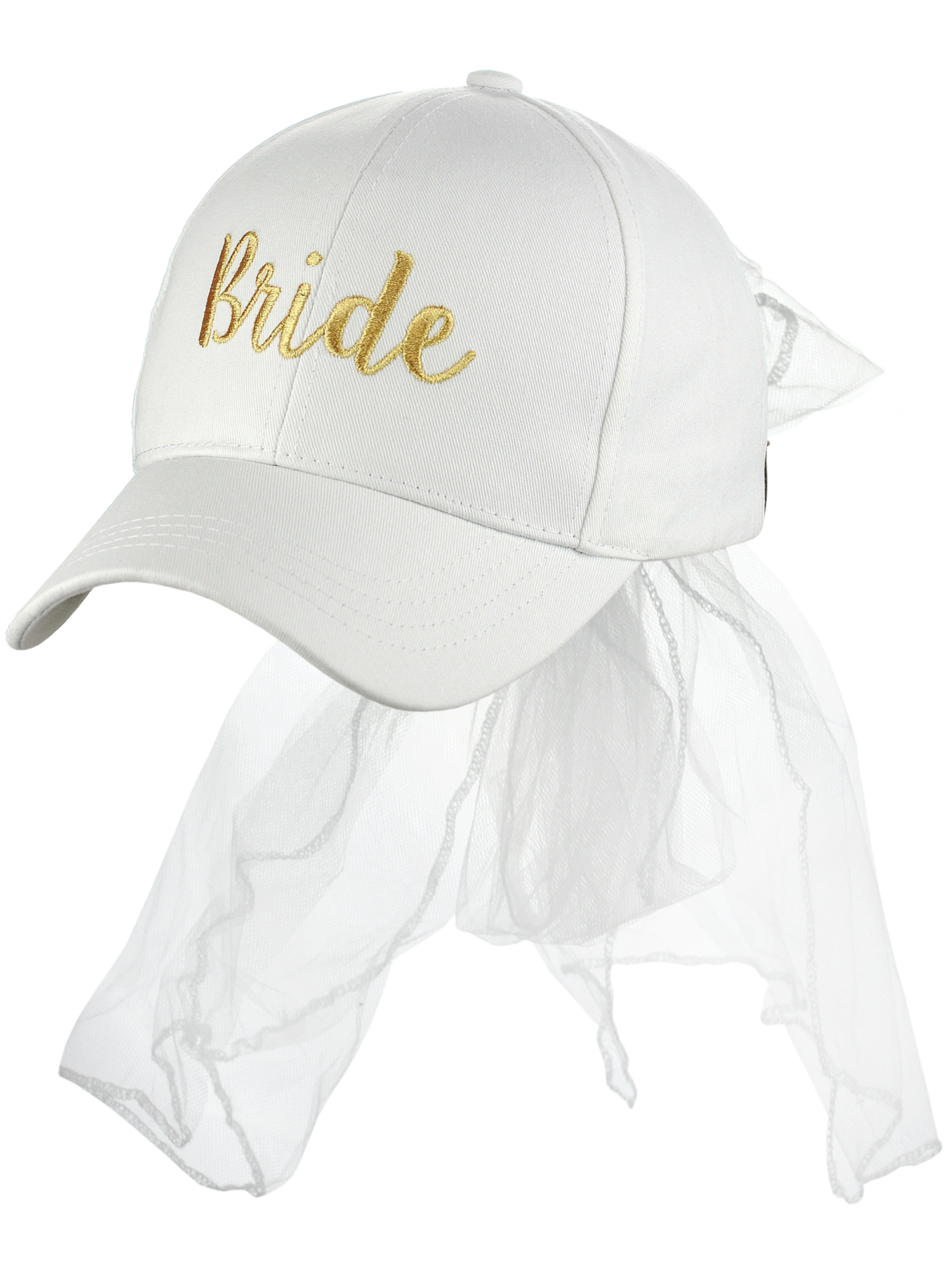 C.C Women's Bridal Metallic Gold Embroidered Adjustable Lace Veil Baseball Cap, Bride