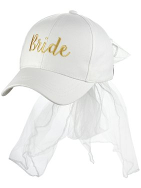 buy popular 7845f fe971 Product Image C.C Women s Bridal Metallic Gold Embroidered Adjustable Lace  Veil Baseball Cap, Bride. Product Variants Selector