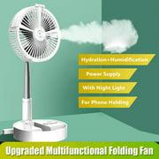 Portable Folding Hydrating Fan USB Electric Fan Multifunctional Humidifying Water Spray Fan Rechargable Desk Floor Fan with Night Light