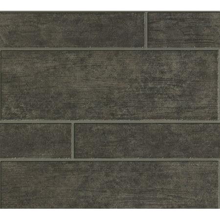 Best OF Wood'n Stone - Modern Wood Stone Brick Light Grey Wallpaper Roll - image 1 de 1