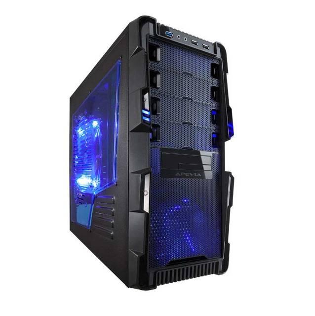 Apevia X-Hermes No Power Supply ATX Mid Tower (Black/Blue) X-HERMES-BL