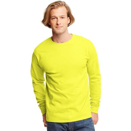 Hanes TAGLESS Men`s Long-Sleeve T-Shirt - Best-Seller, 5586, S, Safety Green - Gold Foil Skirt