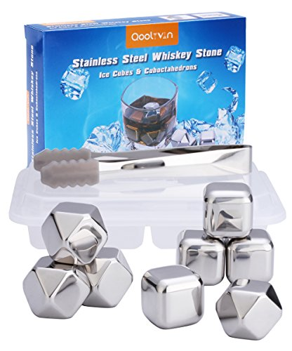 Metal Ice Cubes Gift Set of 8, Qoolivin Wine Beer Resuabl...