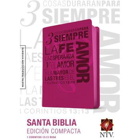 Santa Biblia NTV, Edición compacta, 1 Corintios 13 (SentiPiel, Rosa) (Trendy Rosa Brillen)