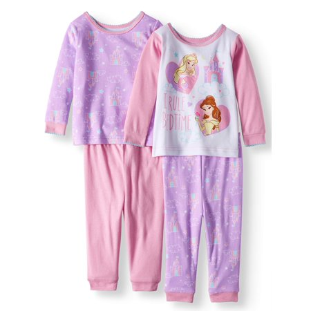 Disney Princess Cotton Tight Fit Pajamas, 4-piece Set (Baby Girls)