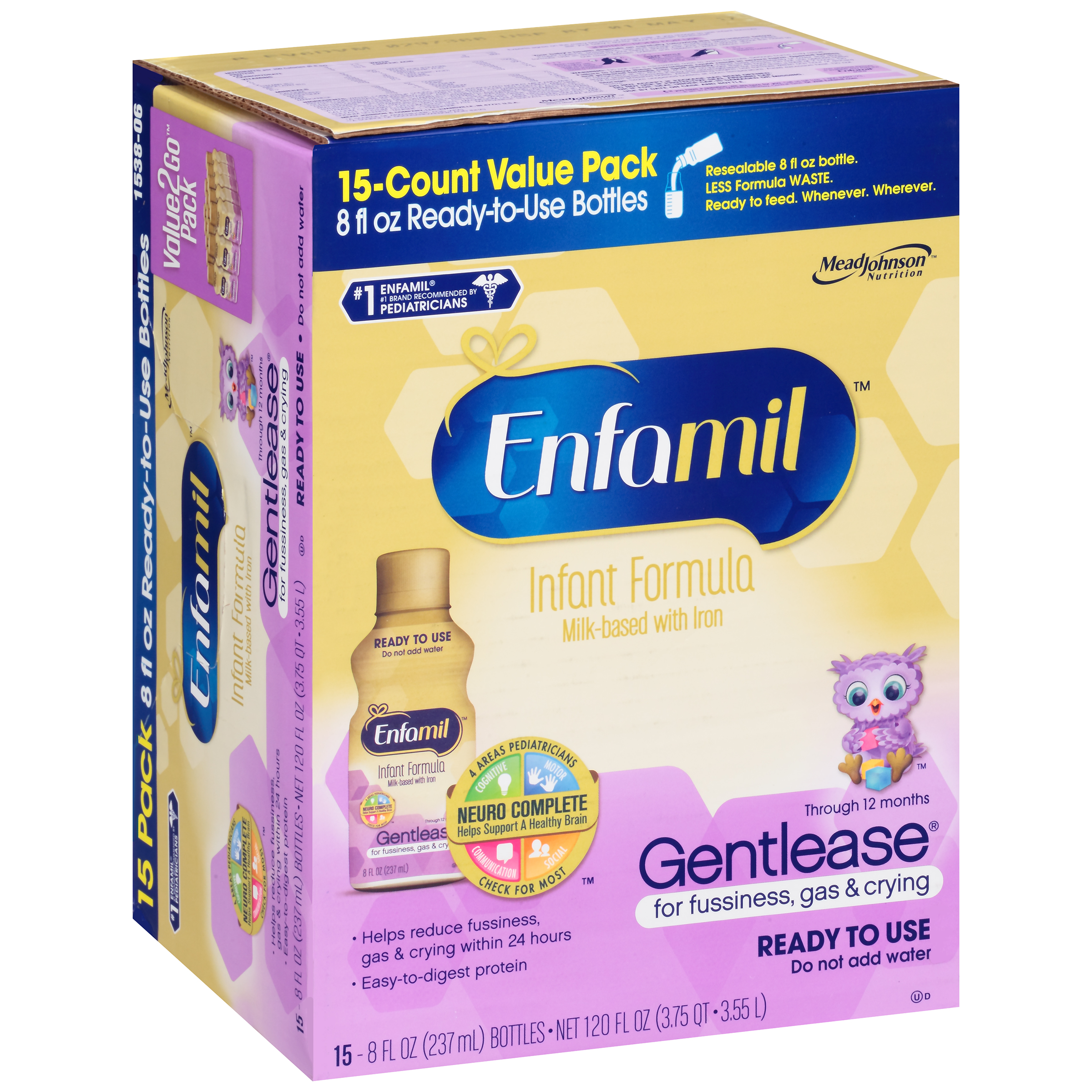 Enfamil��� Gentlease�� Ready to Use Infant Formula 15-8 fl. oz. Bottles