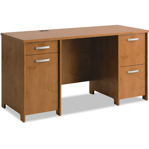 Office Connect By Bush Furniture Envoy Double Pedestal Desk, Box 1 of 2, Natural Cherry