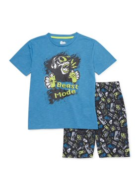 Sleep On It Boys 6-14 Shorts with Short Sleeve 2-Piece Pajama Set