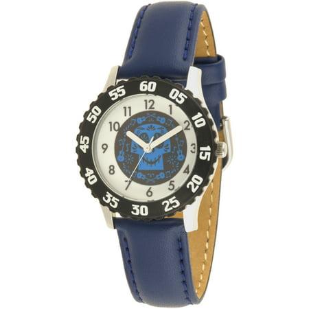 Gemstone Bezel Leather Strap Watch (Coco Boys' Stainless Steel Watch, Black Bezel, Blue Leather Strap)