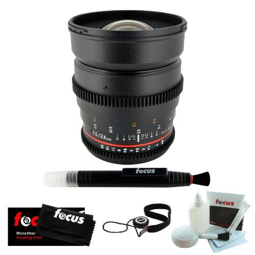 ROKINON 24mm T1.5 Cine Wide Angle Lens (Canon) EF Mount & Care Kit