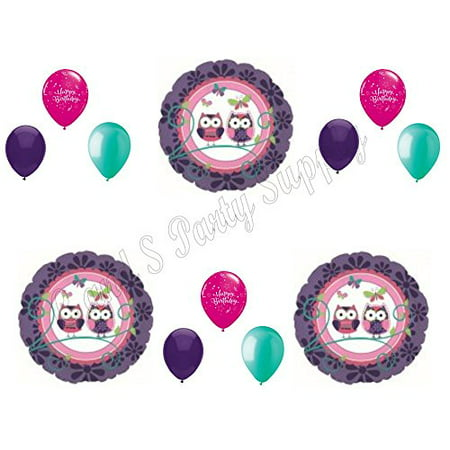 OWL PAL Purple Happy Birthday Party Balloons Decoration Supplies Girl 1st Teen - Owl Party Supplies