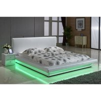 US Pride Furniture Faux Leather Platform Bed with LED Lights