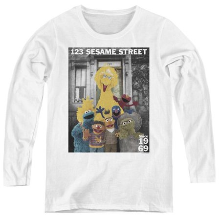 Trevco Sportswear SST138-WL-3 Womens Sesame Street & Best Address Long Sleeve T-Shirt, White - (Best Sportswear For Ladies)