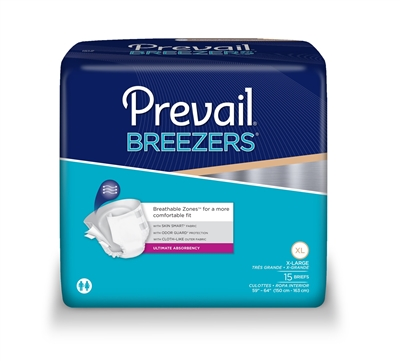 Prevail Breezers Adult Brief, EXTRA LARGE, Heavy Absorbency, PVB-014 - Case of 60