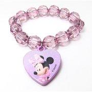 Minnie Mouse Plastic Bead Bracelet Girls Toddler Purple Heart  Stretchy Bracelet