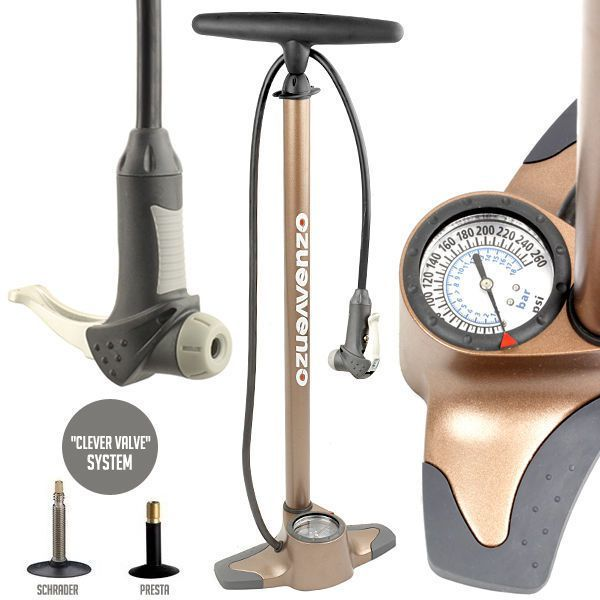 Click here to buy Bicycle Bike Alloy Floor Air Pump Gauge For Tubular Up to 260psi by Venzo.