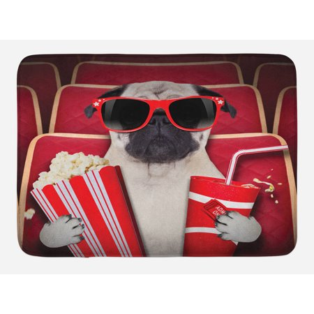 Pug Bath Mat, Funny Dog Watching Movie Popcorn Soft Drink and Glasses Animal Photograph Print, Non-Slip Plush Mat Bathroom Kitchen Laundry Room Decor, 29.5 X 17.5 Inches, Red Cream Ruby, Ambesonne (Glass Mats)
