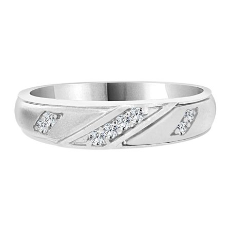 Sterling Silver White Rhodium, Man Guy Gent Wedding Band Ring Created CZ (Best Male Wedding Rings)