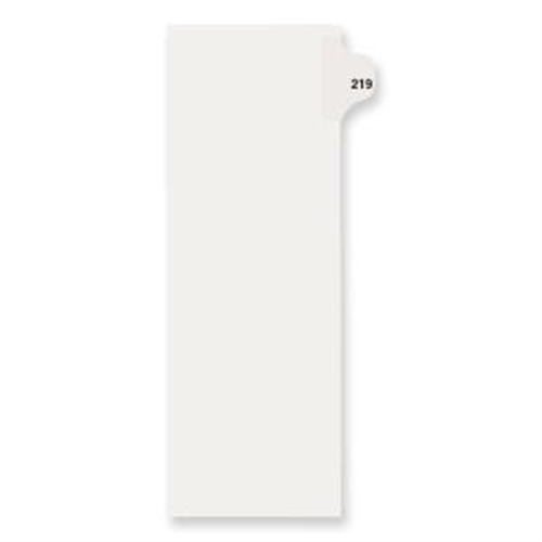 "Dividers, ""219"", Side Tab, 8-1/2""x11"", 25/PK, White AVE82435"