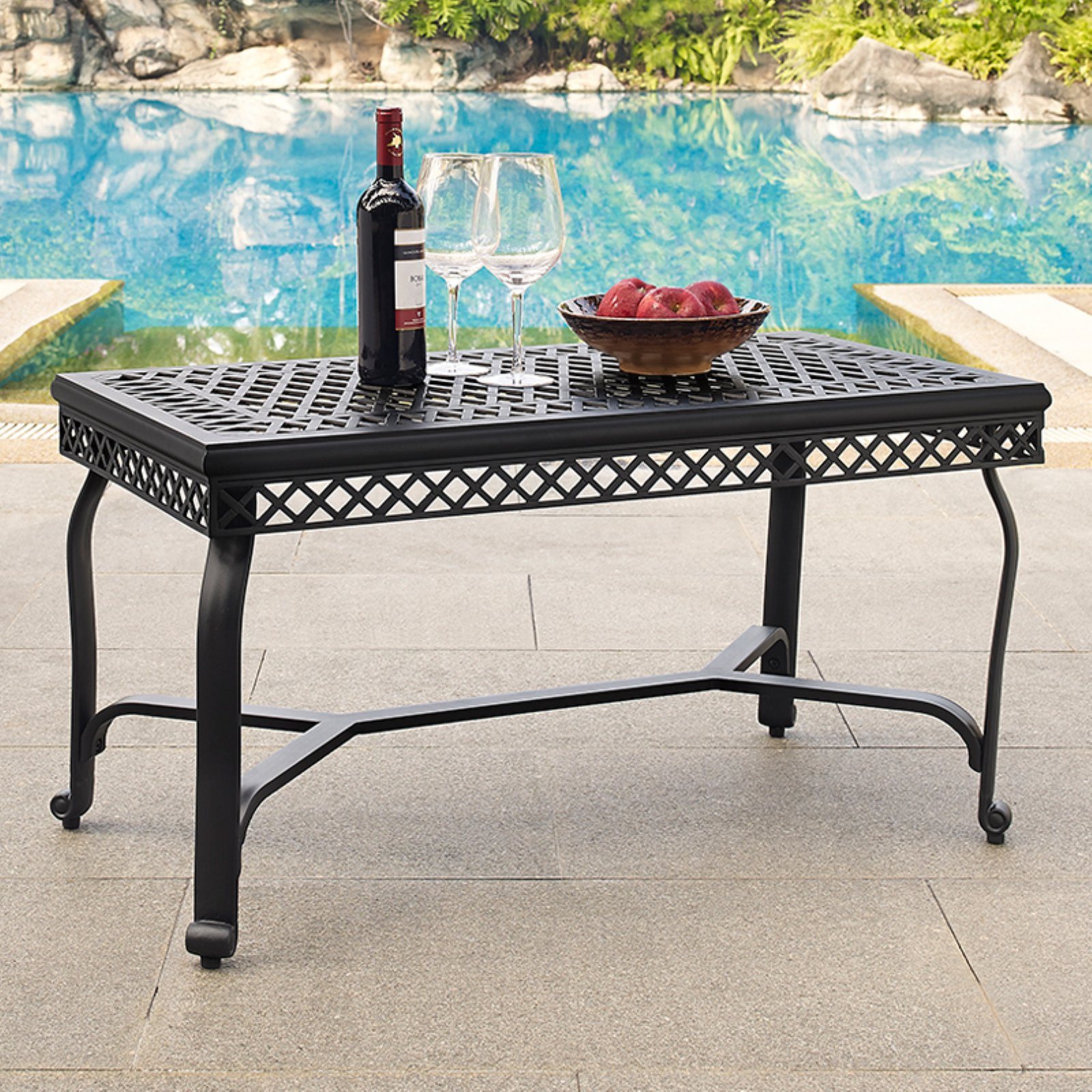 Crosley Portofino Cast Aluminum Coffee Table, Charcoal Black Finish by Crosley Brands, Inc