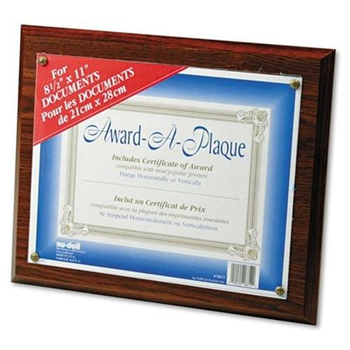 "Nu-dell Award-a-plaque - 13"" X 10.50"" Frame - 11"" X 8.50"" Insert - Wall Mountable - Horizontal, Vertical - Acrylic - Oak (18812M)"
