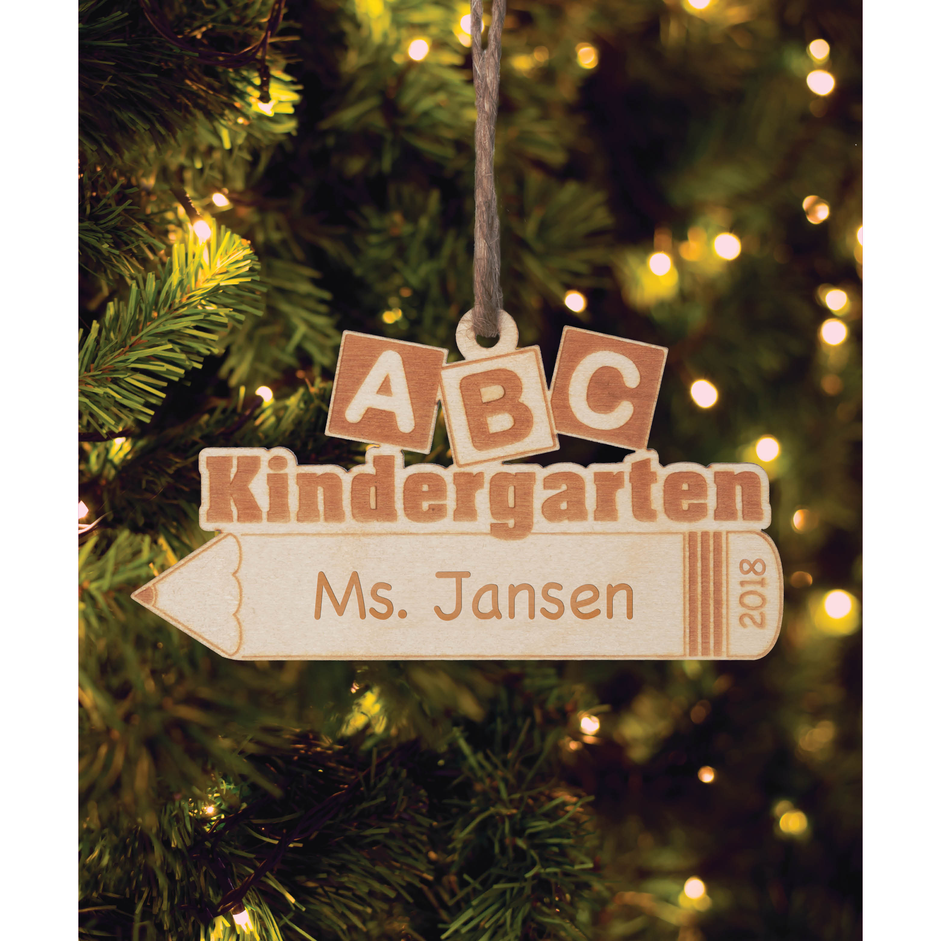 Personalized Wood Teacher Christmas Ornament - ABC Kindergarten Teacher