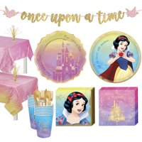 Party City Disney Princess Snow White Tableware Supplies for 16 Guests, Includes Cups, Cutlery, Napkins, Plates, Decor