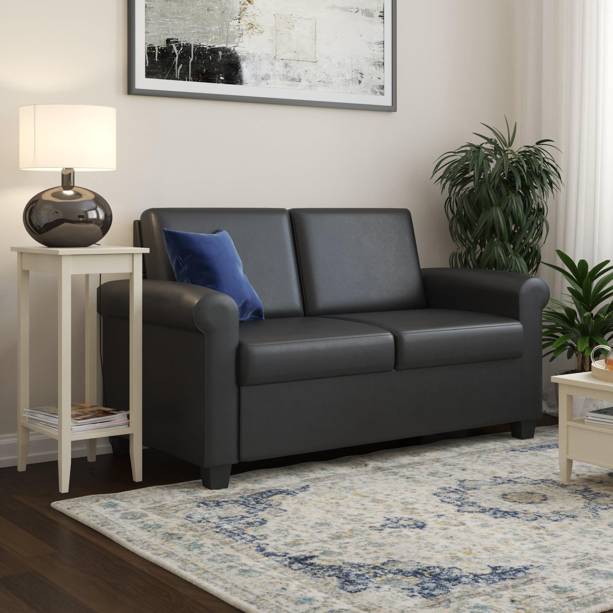 Dhp logan twin sleeper sofa black faux leather walmart com